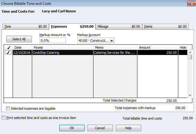 items vs expenses in quickbooks