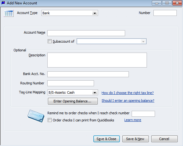add bank account in quickbooks