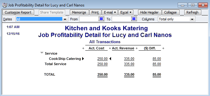 items and expenses in quickbooks