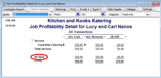 items and expenses quickboos