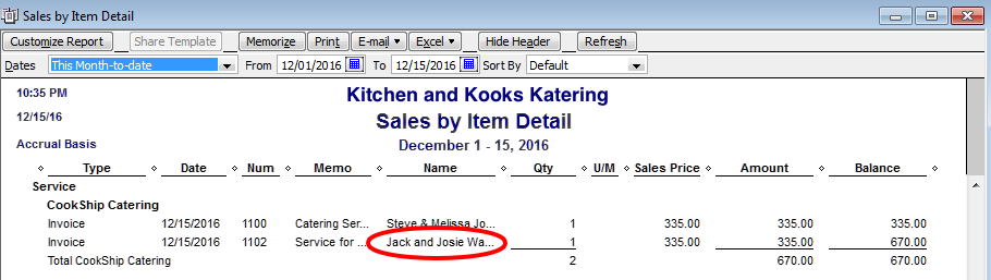 items and reporting in quickbooks