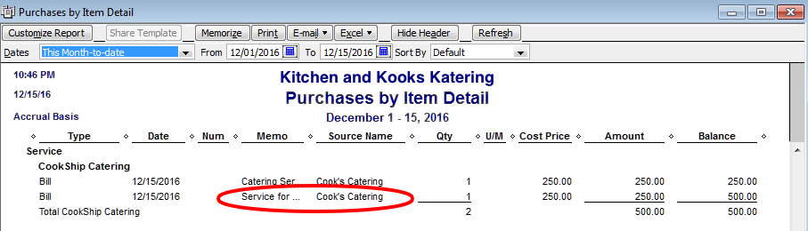items and reporting purchases in quickbooks