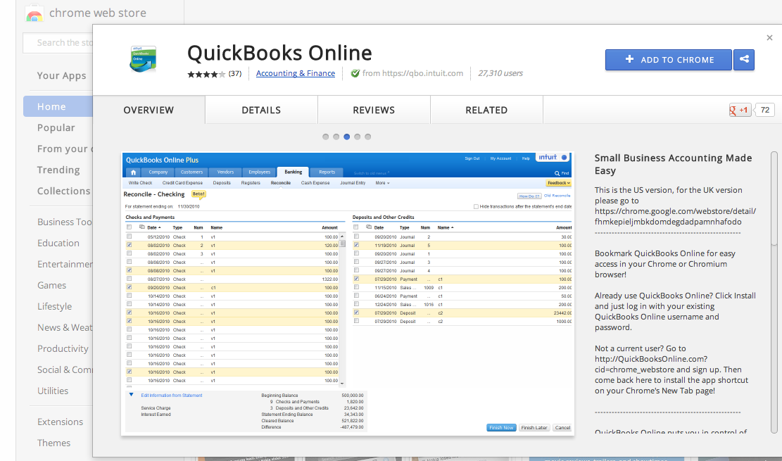 How to install the quickbooks online google chrome app
